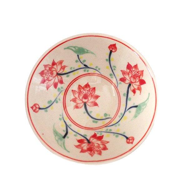 ベトナム バッチャン焼き 手描き  蓮  小皿【画像2】