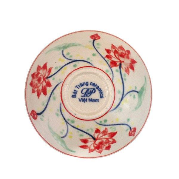 ベトナム バッチャン焼き 手描き  蓮  小鉢【画像3】
