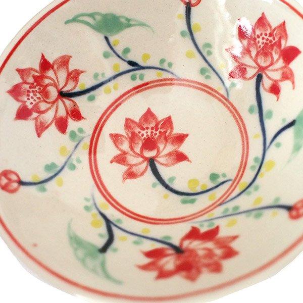 ベトナム バッチャン焼き 手描き  蓮  小鉢【画像4】