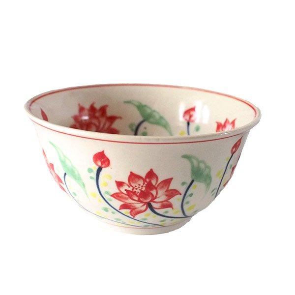 ベトナム バッチャン焼き 手描き  蓮  お茶碗