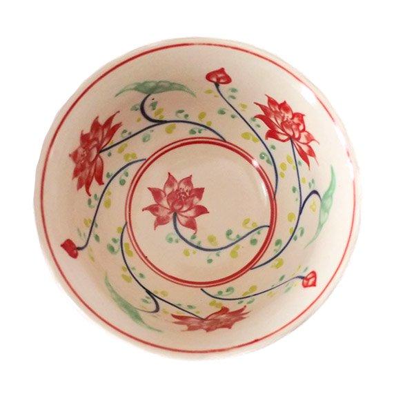 ベトナム バッチャン焼き 手描き  蓮  お茶碗【画像3】