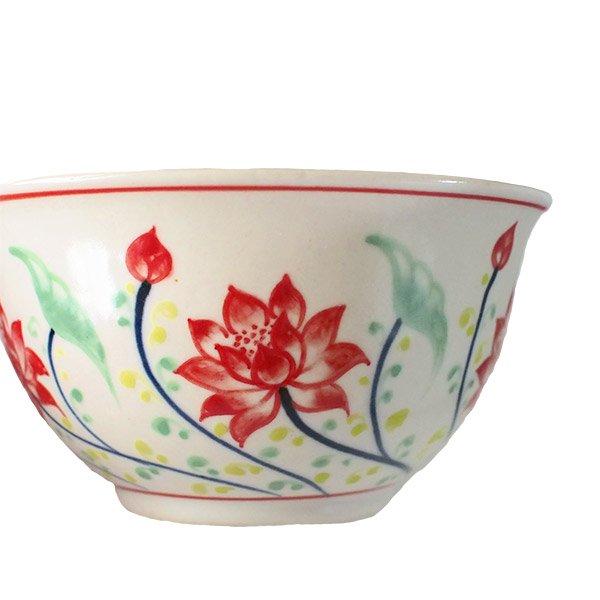 ベトナム バッチャン焼き 手描き  蓮  お茶碗【画像5】