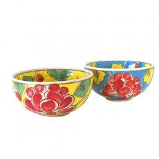 ベトナム バッチャン焼き 手描き  花 カラフル 茶碗(2色)