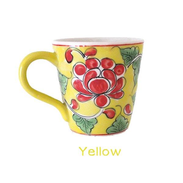 ベトナム バッチャン焼き 手描き  花 カラフル マグカップ(3色)【画像2】