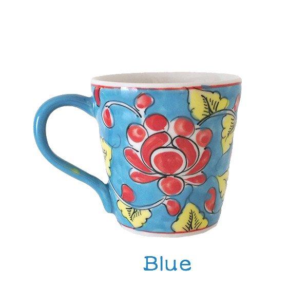 ベトナム バッチャン焼き 手描き  花 カラフル マグカップ(3色)【画像3】