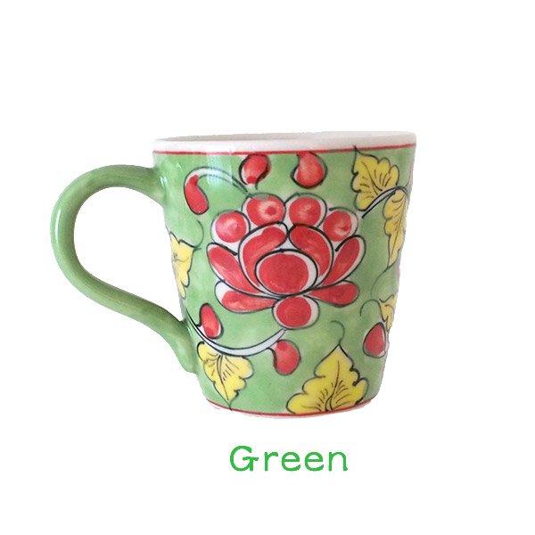 ベトナム バッチャン焼き 手描き  花 カラフル マグカップ(3色)【画像4】