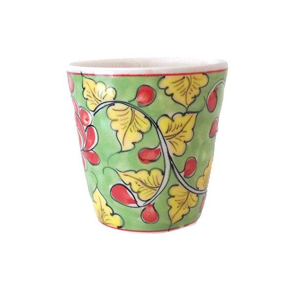 ベトナム バッチャン焼き 手描き  花 カラフル マグカップ(3色)【画像6】