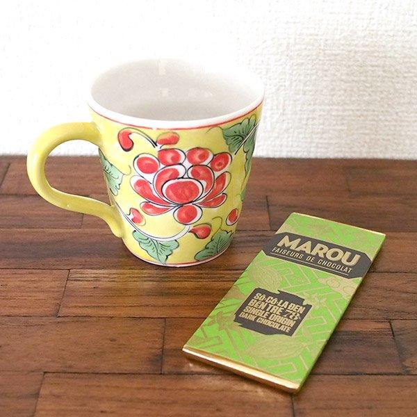 ベトナム バッチャン焼き 手描き  花 カラフル マグカップ(3色)【画像7】