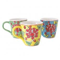 ベトナム バッチャン焼き 手描き  花 カラフル マグカップ(3色)