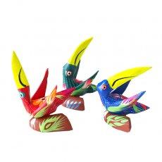 トリ (鳥) 雑貨 メキシコ ウッドカービング アレブリヘス(トリ 3色)