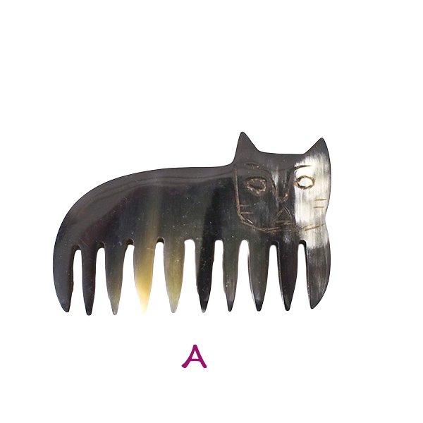 マダガスカル 牛角 ネコ 櫛【画像2】