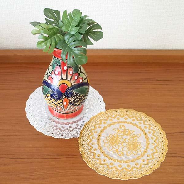 ベトナム 花柄 マット(シルバー・ゴールド 2色 直径約16cm)