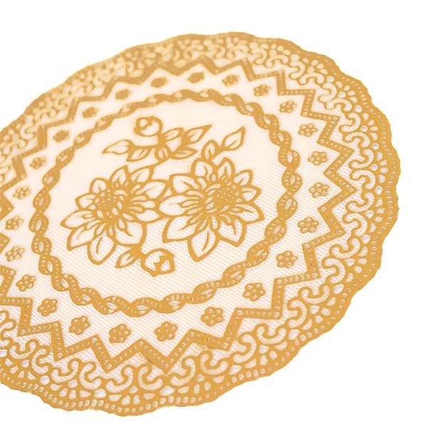 ベトナム 花柄 マット(シルバー・ゴールド 2色 直径約16cm)【画像7】