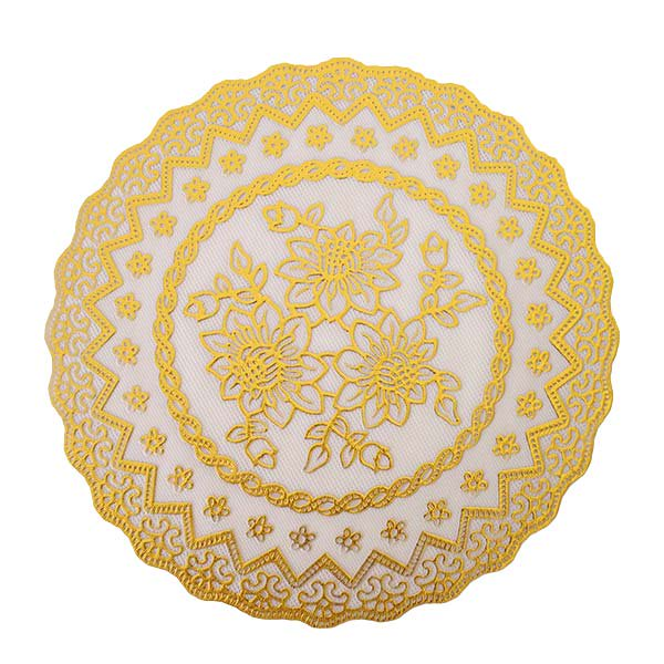 ベトナム 花柄 マット(シルバー・ゴールド 2色 直径約20cm)【画像5】