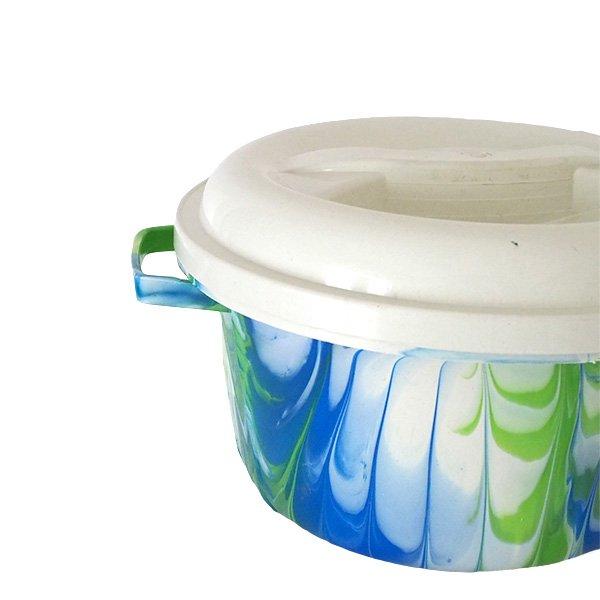 セネガル プラスチック蓋付きの桶(ブルー B)【画像2】