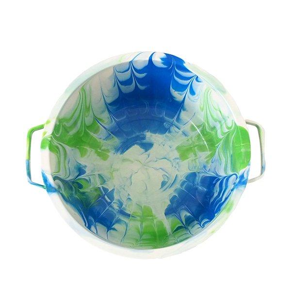 セネガル プラスチック蓋付きの桶(ブルー B)【画像3】