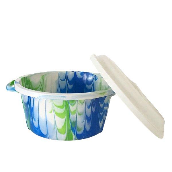 セネガル プラスチック蓋付きの桶(ブルー B)【画像4】