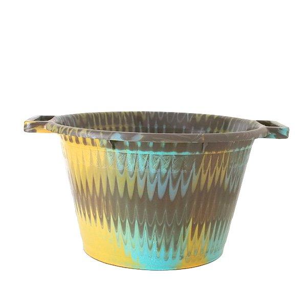 セネガル プラスチック持ち手付きの桶(カーキ  12リットル)