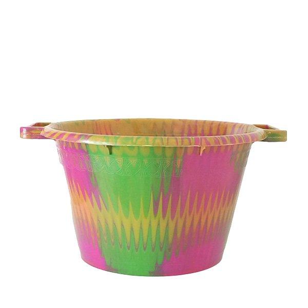セネガル プラスチック持ち手付きの桶(ピンク 12リットル)