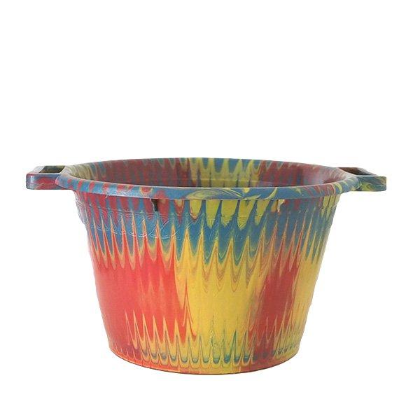 セネガル プラスチック持ち手付きの桶(イエロー 12リットル)