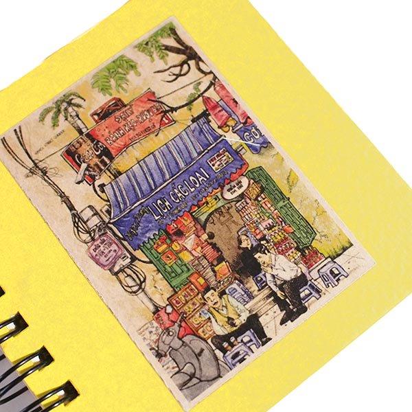 ベトナム ミニノート  イエロー(5種 プロパガンダアート・民族衣装・日常)【画像4】