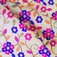 インド ラジャスタンの刺繍布 ゴールド(幅約107cm / 1m切り売り )