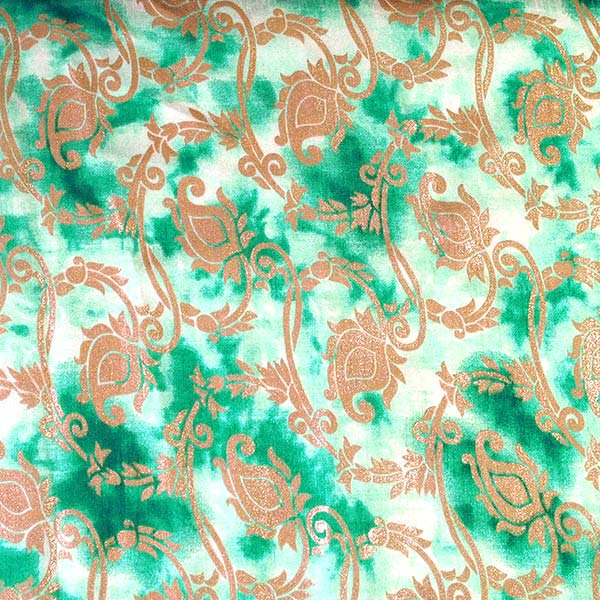 インド タイダイ 蔓草模様 グリーン (幅約114cm / 1m切り売り)【画像6】