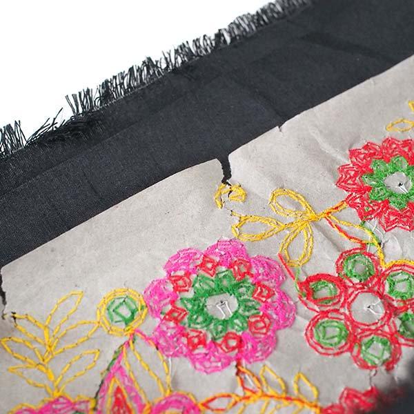 インド ラジャスタンの刺繍布 ブラック(幅約109cm / 1m切り売り )【画像6】