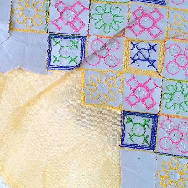 インド ラジャスタンの刺繍布 ゴールド スパンコール(幅約108cm / 1m切り売り)【画像6】