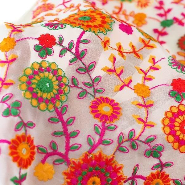 インド ラジャスタンの刺繍布  ミラーワーク 花(幅約109cm / 1m切り売り)【画像5】
