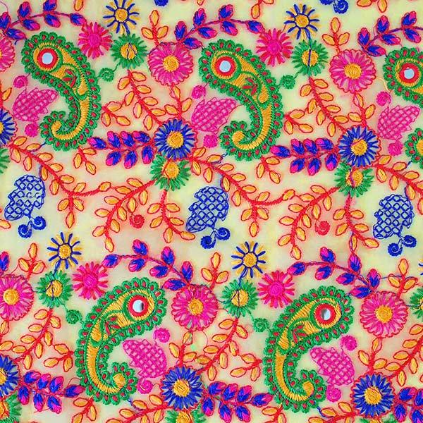 インド ラジャスタンの刺繍布  ミラーワーク ペイズリー (幅約105cm / 1m切り売り)【画像2】