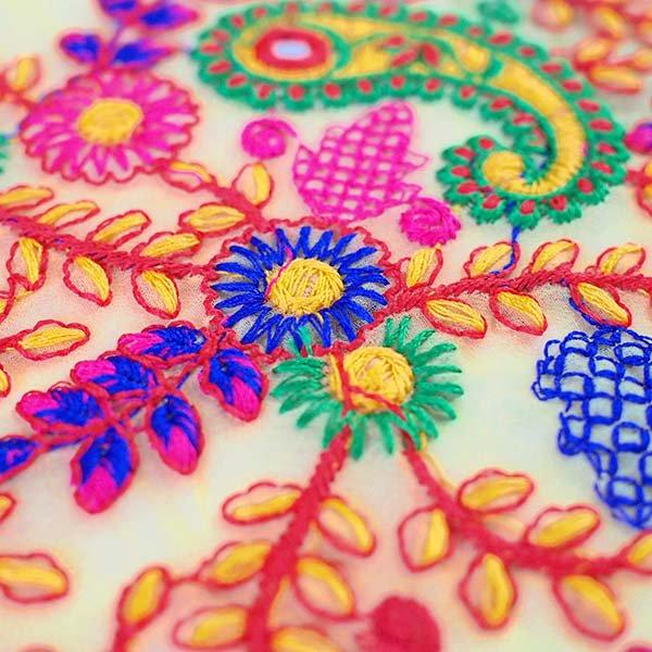 インド ラジャスタンの刺繍布  ミラーワーク ペイズリー (幅約105cm / 1m切り売り)【画像4】