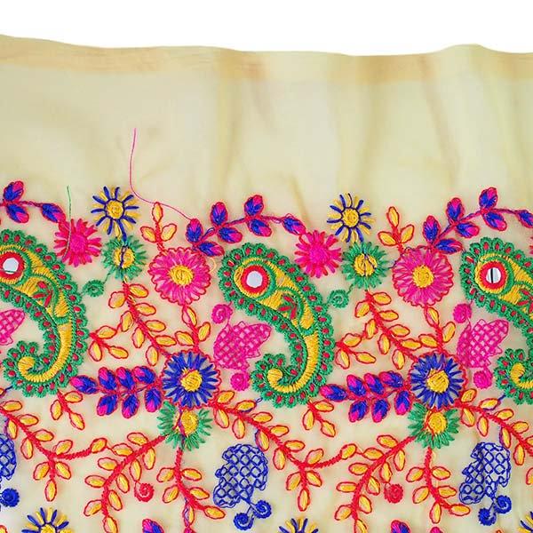 インド ラジャスタンの刺繍布  ミラーワーク ペイズリー (幅約105cm / 1m切り売り)【画像7】