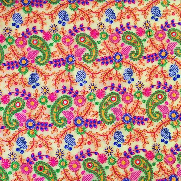 インド ラジャスタンの刺繍布  ミラーワーク ペイズリー (幅約105cm / 1m切り売り)【画像8】