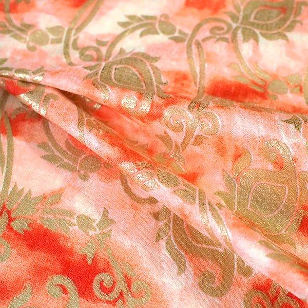 インド タイダイ 蔓草模様 レッド (幅約114cm / 50cm切り売り)