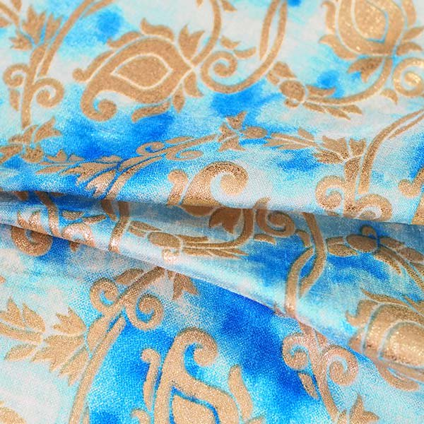 インド タイダイ 蔓草模様 ブルー (幅約114cm / 50cm切り売り)