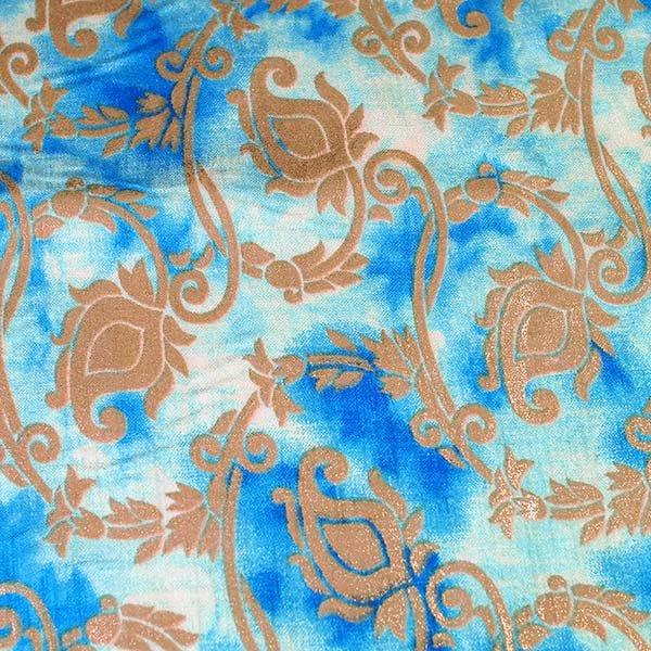 インド タイダイ 蔓草模様 ブルー (幅約114cm / 50cm切り売り)【画像2】