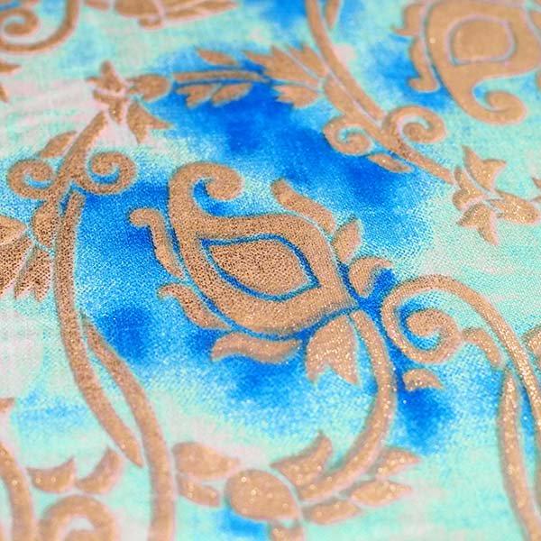 インド タイダイ 蔓草模様 ブルー (幅約114cm / 50cm切り売り)【画像3】