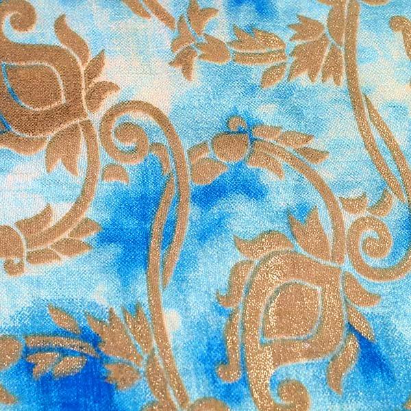 インド タイダイ 蔓草模様 ブルー (幅約114cm / 50cm切り売り)【画像4】