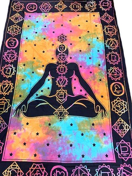 インド  チャクラ タイダイ ホーリーカラー 布 (約198cm×131cm) 【画像7】