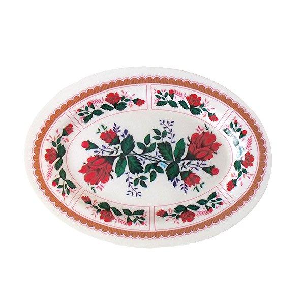 ベトナム 花柄 プラスチック 皿 (楕円 横約25cm)