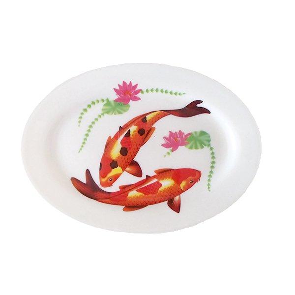 ベトナム 蓮と鯉 プラスチック 皿 (楕円 横約22cm)