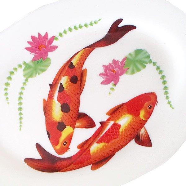 ベトナム 蓮と鯉 プラスチック 皿 (楕円 横約22cm)【画像2】