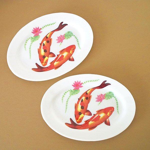 ベトナム 蓮と鯉 プラスチック 皿 (楕円 横約22cm)【画像4】