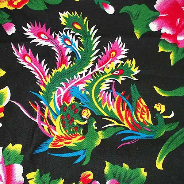 ベトナム 孔雀と牡丹 カットオフ 幅約158/ 1m売り(黒)【画像2】