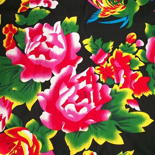 ベトナム 孔雀と牡丹 カットオフ 幅約158/ 1m売り(黒)【画像3】