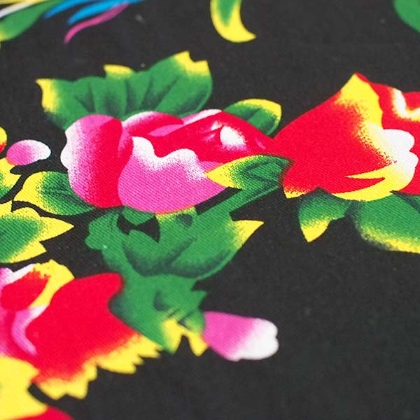 ベトナム 孔雀と牡丹 カットオフ 幅約158/ 1m売り(黒)【画像4】