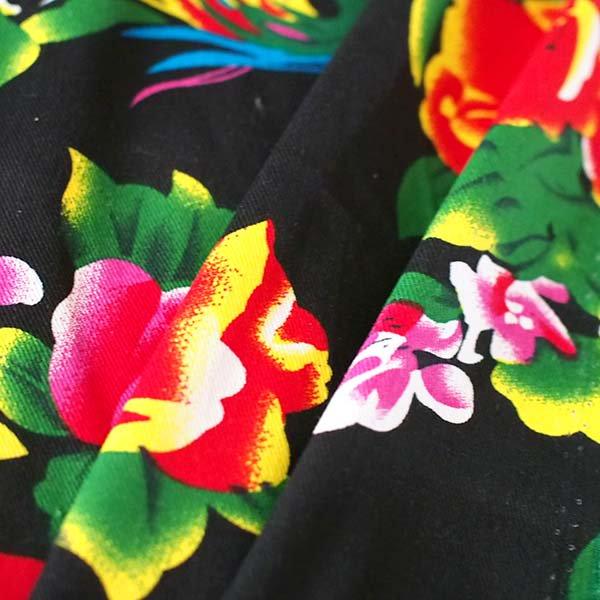 ベトナム 孔雀と牡丹 カットオフ 幅約158/ 1m売り(黒)【画像5】
