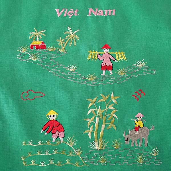 ベトナム 刺繍 巾着(水牛と子供 大サイズ 37×28)【画像2】