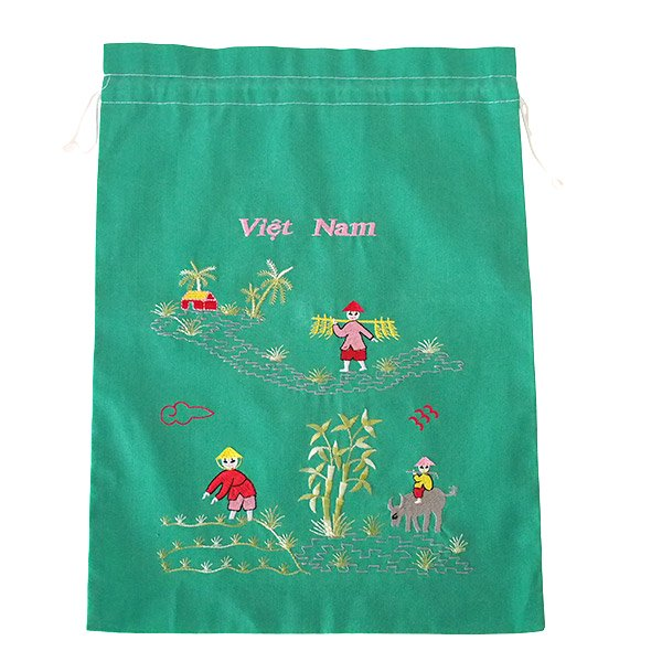ベトナム 刺繍 巾着(水牛と子供 大サイズ 37×28)【画像3】